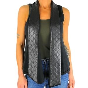 Nordstrom Faux Leather Knit Vest One Size Black